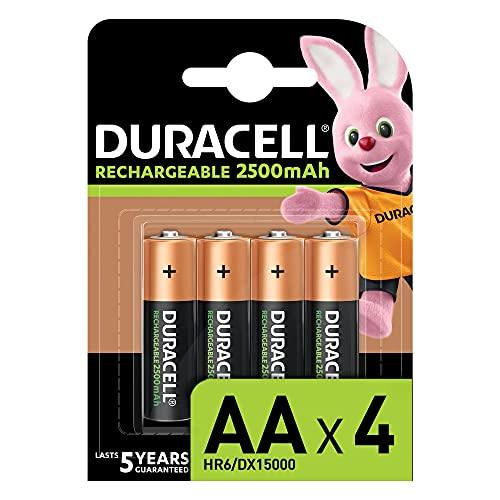 [Prime] Pack de 4 Piles Rechargeables Duracell AA 2500 mAh