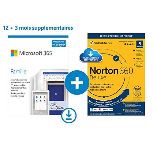[Prime] Logiciel Microsoft Office 365 famille + Norton 360 15 mois (Dématérialisé)