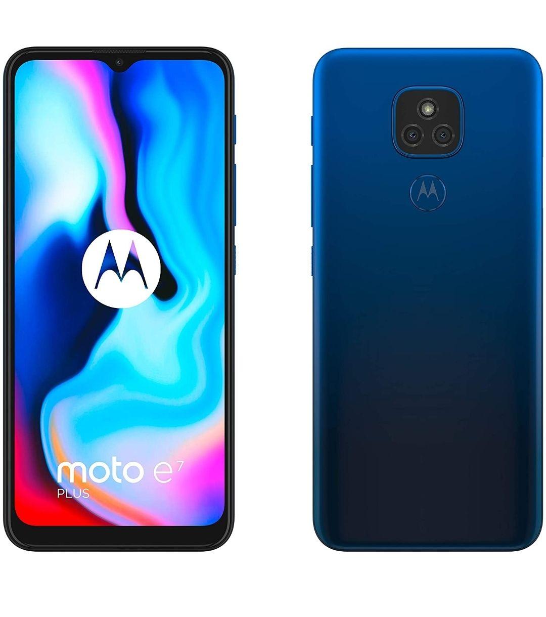 """[Prime] Smartphone 6.5"""" Motorola e7 Plus - HD+, SnapDragon 460, 4 Go de RAM, 64 Go, 48 Mpix, bleu"""