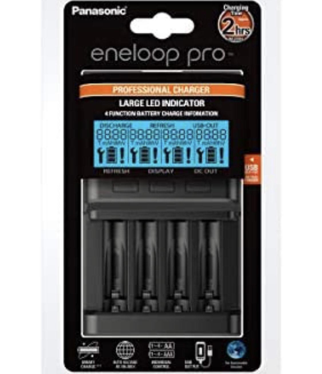 Chargeur de piles Panasonic Eneloop Pro BQCC65 4X - AA/AAA Noir