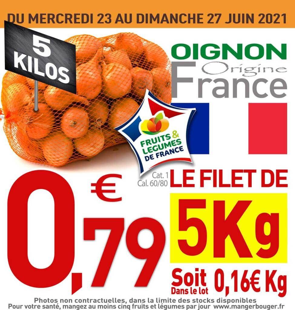 Filet de 5 kg d'oignons jaune - catégorie 1 (Origine France)