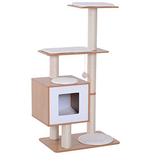 [Prime] Arbre à chat en bois Pawhut - 66x47x120 cm, bois gris (vendeur tiers)
