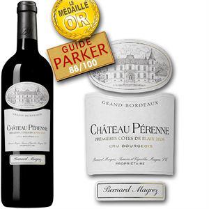 3 bouteilles de vin Château Pérenne Premières Côtes de Blaye 2006 88/100 guide parker
