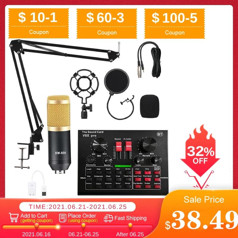 Pack microphone V8X Pro - différents coloris, avec accessoires