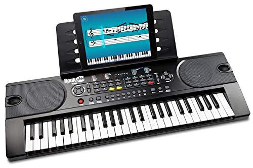 [Prime] Clavier de piano 49 touches RockJam avec alimentation, support de partition, autocollants pour notes de piano et leçons