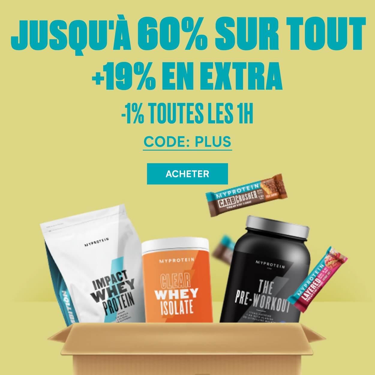 Jusqu'à -60% sur tout + -19% en EXTRA (-1% toutes les 1h) + livraison offerte dès 10€