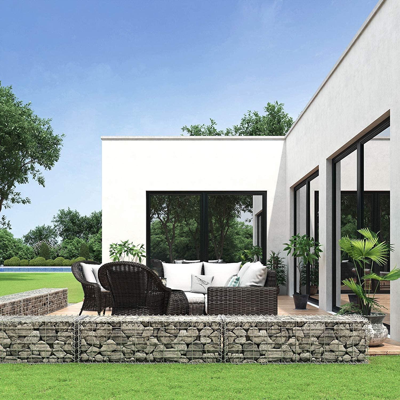 Promotion sur une sélection de gabions (cloisons en métal pour pierres) -Ex: Lot de 4 gabions - 100x30x30 cm, acier galvanisé (sans pierres)