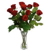 Bouquet de 10 roses avec feuillage - Tige 50 cm
