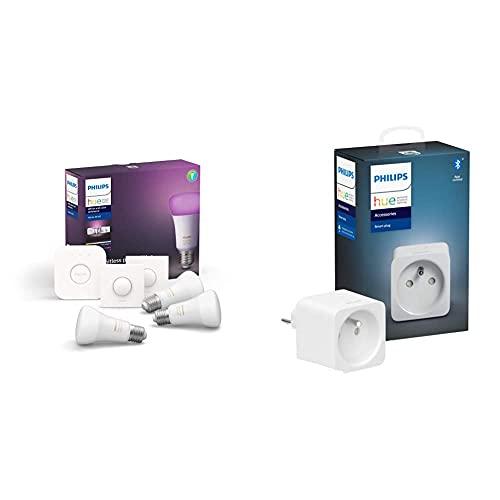[Prime] Kit de Démarrage Philips Hue - 3 Ampoules Connectées White & Color Ambiance E27, Pont + Télécommande Smart Button + Prise Connectée