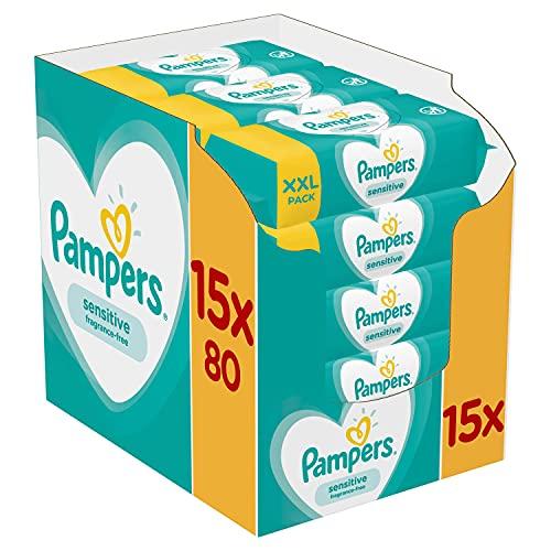 [PRIME] Lot de 15 Paquets de 80 Lingettes Bébé Pampers Sensitive - 1200 Lingettes