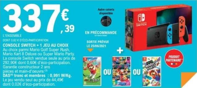 Pack console Nintendo Switch + 1 jeu au choix (Mario Golf Super Rush, Mario Kart 8 Deluxe ou Super Mario Party)