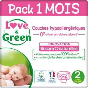 [Prime] Pack de 216 couches Love & Green - Taille 2
