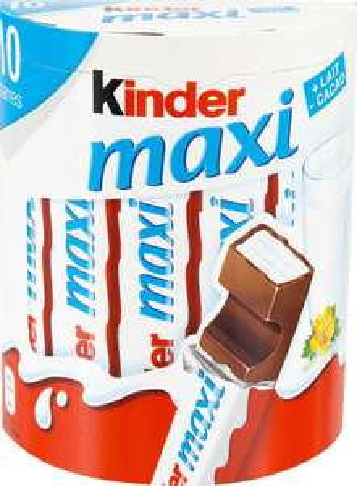 Lot de 2 boites de 10 barres chocolatées Kinder Maxi - 2 x 210g