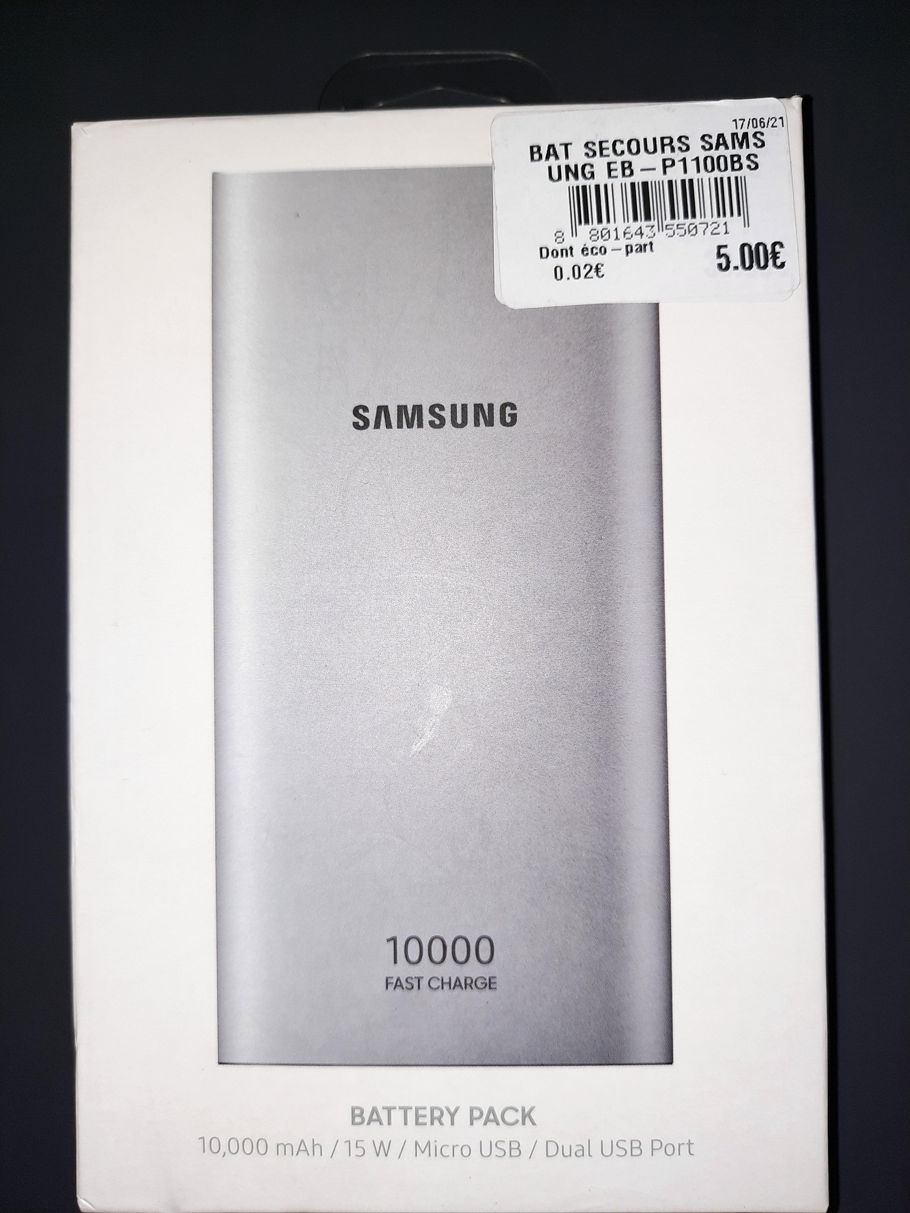 Batterie externe Samsung EP-P1100B - 10 000 mAh, câble micro USB (Angers 49)