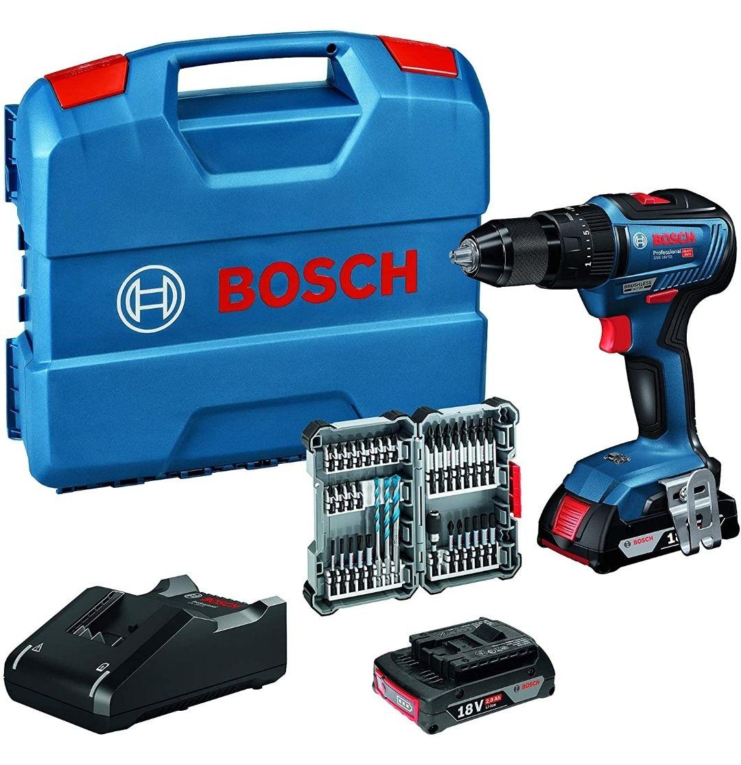 [Prime DE] Perceuse visseuse à percussion Bosch pro GSB 18V-55 brushless avec L-case, 2 batteries de 2 ah et 35 embouts