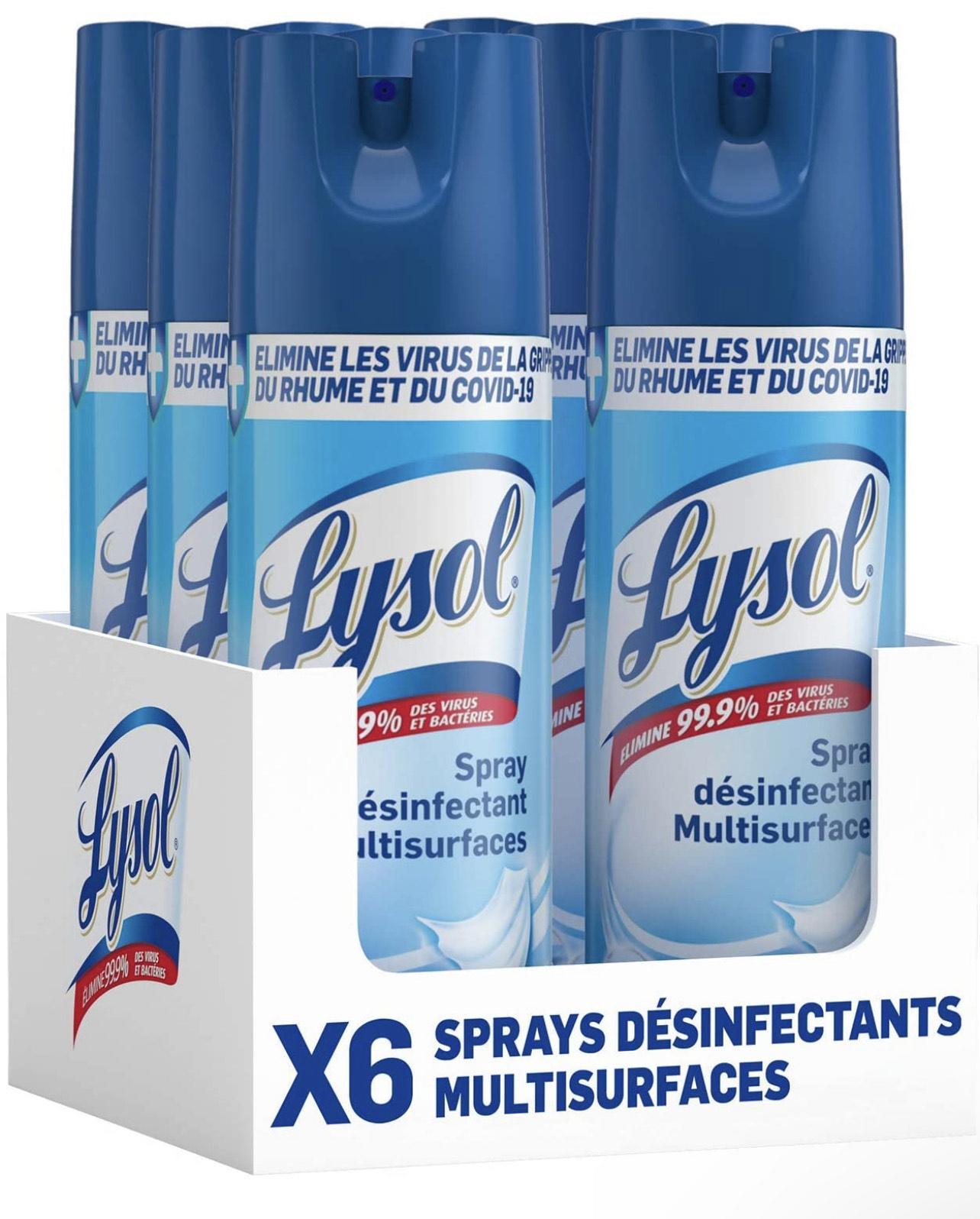 [Prime] Lot de 6 Spray Désinfectant Lysol