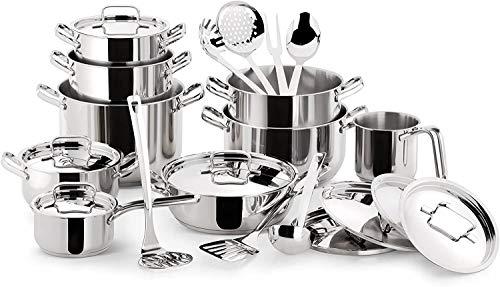 [Prime] Batterie de cuisine tout inox 18/10 Lagostina 010740600024 - 24 pièces, Tous feux dont induction