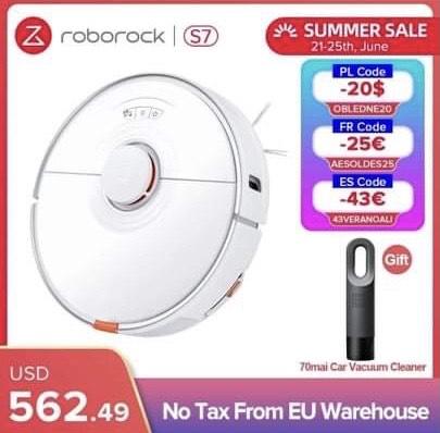 Aspirateur Robot laveur Roborock S7 (463,25€ avec le code AESOLDES25)