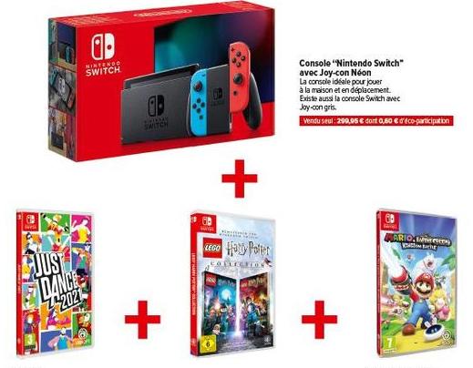 Console Nintendo Switch + Mario & Les Lapins Crétins Kingdom Battle + Just Dance 2021 + Lego Harry Potter Collection - Chalons en champagne