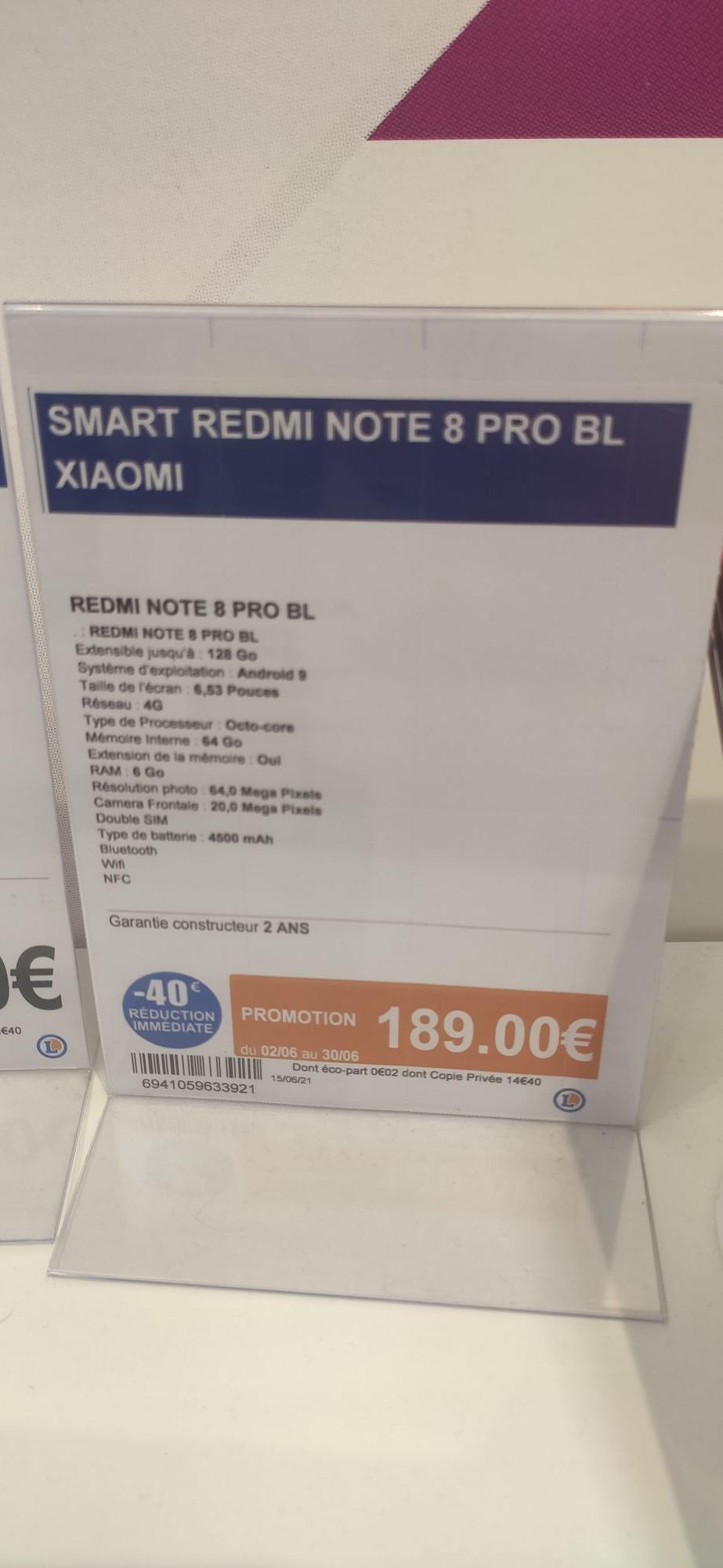 "Smartphone 6.63"" Xiaomi Redmi Note 8 Pro - 128 Go (La Ferté-Bernard 72)"
