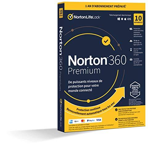 [Prime] Licence Norton 360 Premium - 1 an, 10 appareils