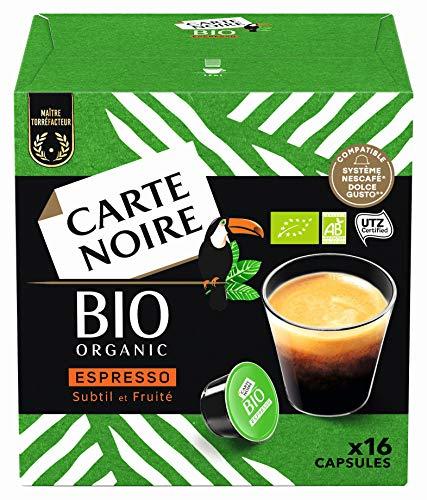 [Prime] 6 Paquets de 16 capsules Carte Noire Café Espresso Bio - Compatibles Dolce Gusto (96 Capsules)