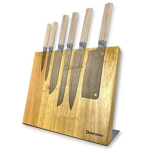 Bloc couteaux magnétique Quintessio en bois aimanté (Vendeur Tiers)