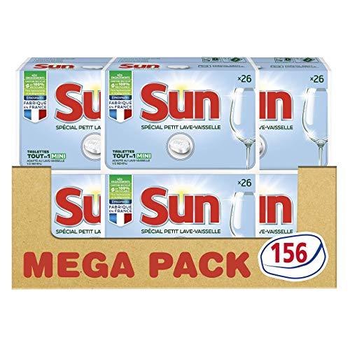[Prime] Lot de 6 paquets de 26 tablettes lave-vaisselle Sun Tout-En-1 Spécial Petit Lave-Vaisselle - 156 lavages