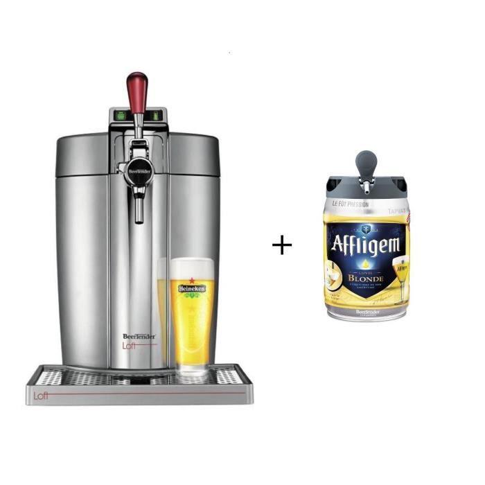 Tireuse à bière Krups Beertender VB700E00 - Compatible fûts 5 L, Chrome + 1 fût Affligem (via ODR de 50€)