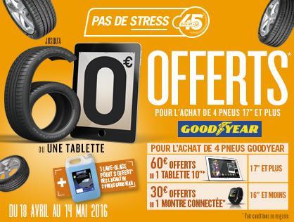 """Jusqu'à 60€ (ou une tablette 10.1"""" Polaroid) + 5L de lave-glace offerts pour l'achat de 4 pneus GoodYear"""