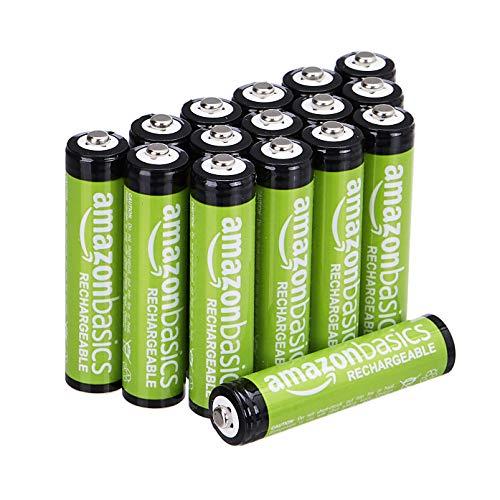 Lot de 16 Piles rechargeables Amazon Basics AAA - 800 mAh, pré-chargées