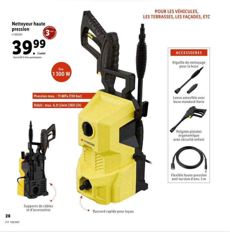 Nettoyeur haute pression Parkside - 110 Bars, 6 litres/min