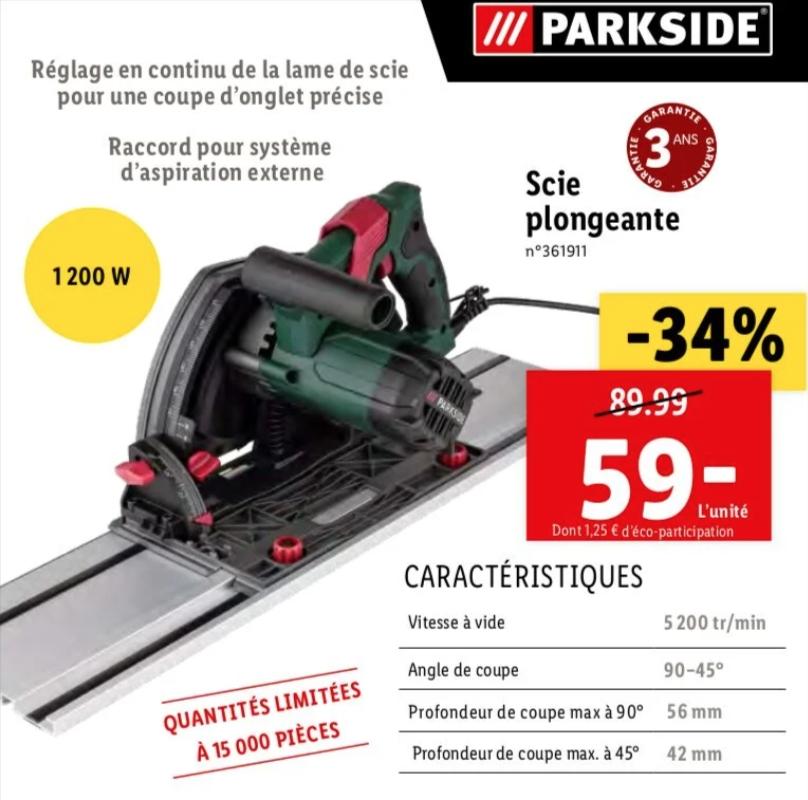 Scie plongeante électrique ParkSide - 1200 W