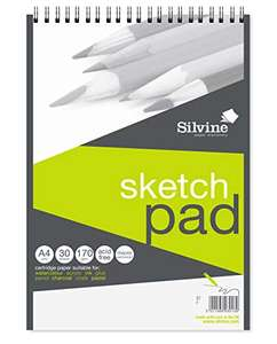 Bloc de 30 feuilles à croquis Silvine Sketch Pad 472 - A4, 170 g/m²