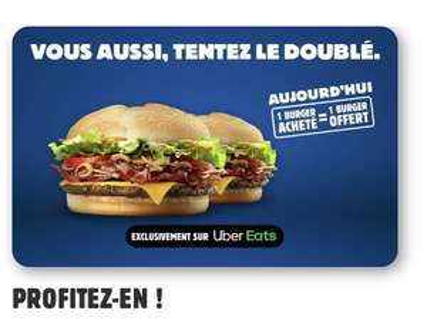 1 hamburger Burger King BBQ Cheese & Bacon, Big King XXL ou Steakhouse acheté = 1 hamburger offert (dans les restaurants Burger King)