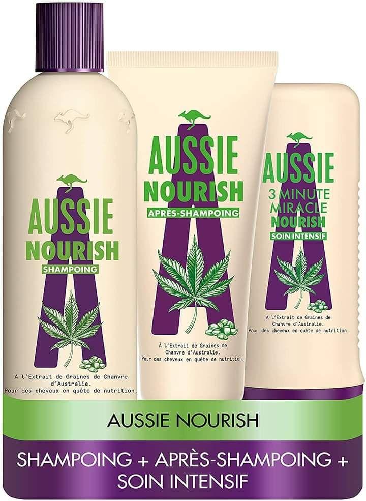 Lot Aussie Nourish : Shampoing 300ml, Après-shampoing 200ml et Soin Intensif Nourrissants 250ml pour Cheveux Secs et Abîmés