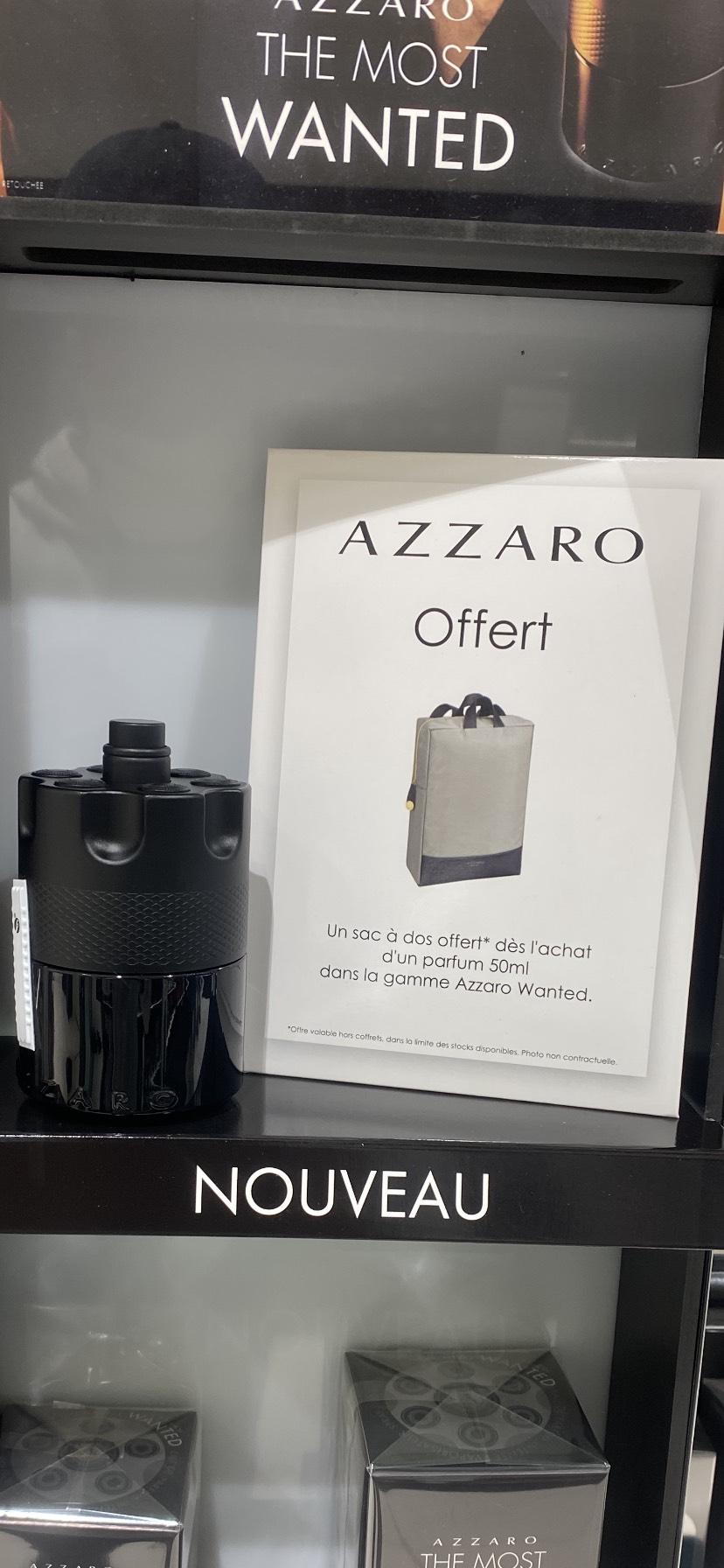 Un sac à dos offert pour l'achat d'un parfum de la gamme Azzaro Wanted (dès 50 ml) - Versailles (78)