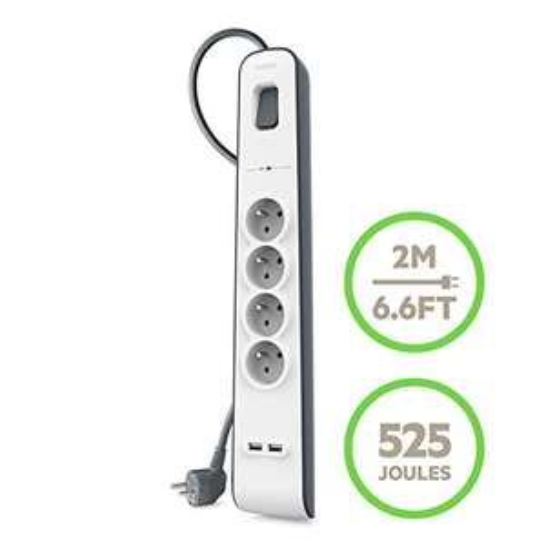 Multiprise parafoudre Belkin BSV401ca2M - 4 prises, 2 ports USB, cordon 2m, blanc