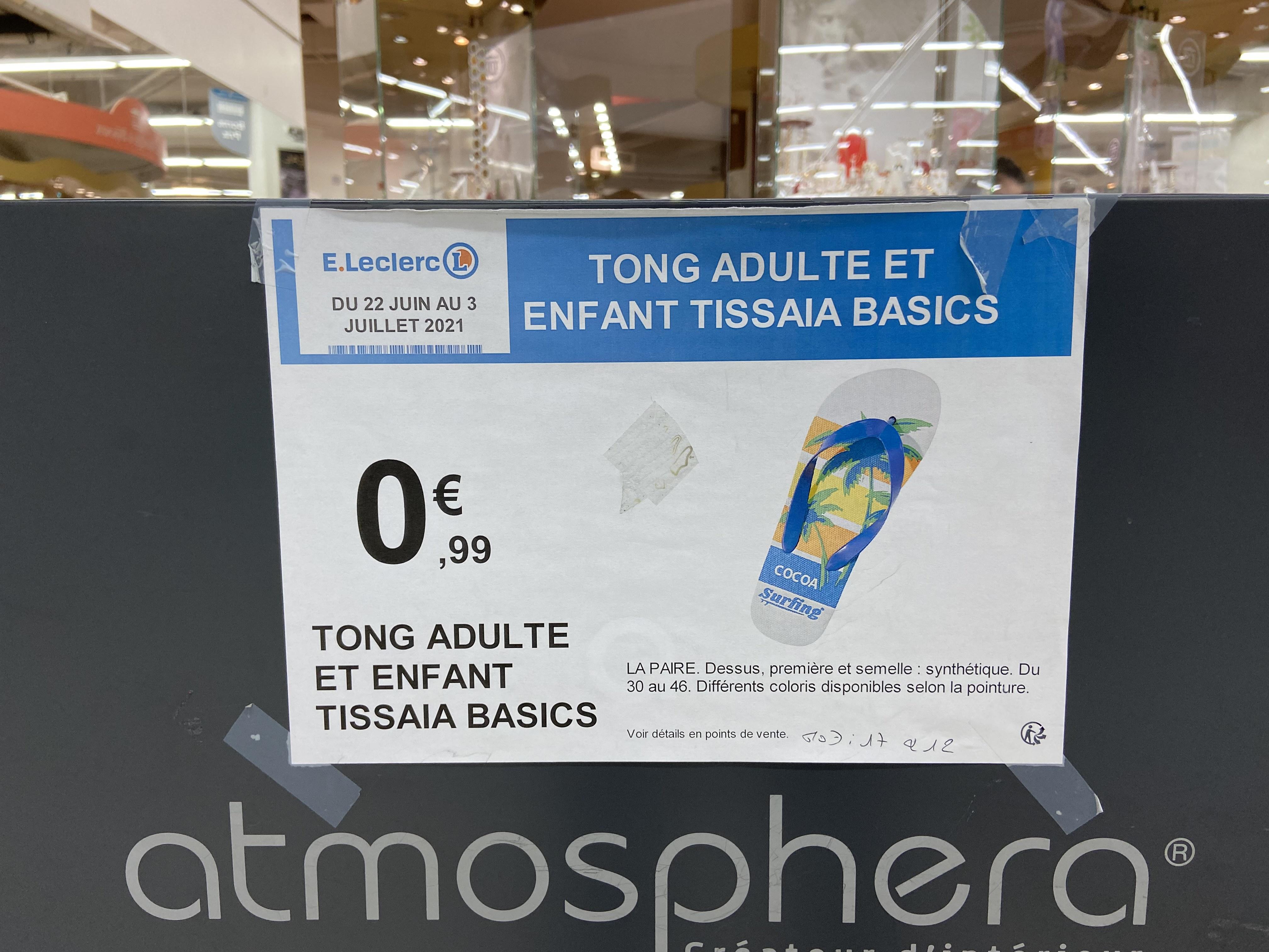 Tongs adulte ou enfant Tissaia Basics - Clichy (92)'