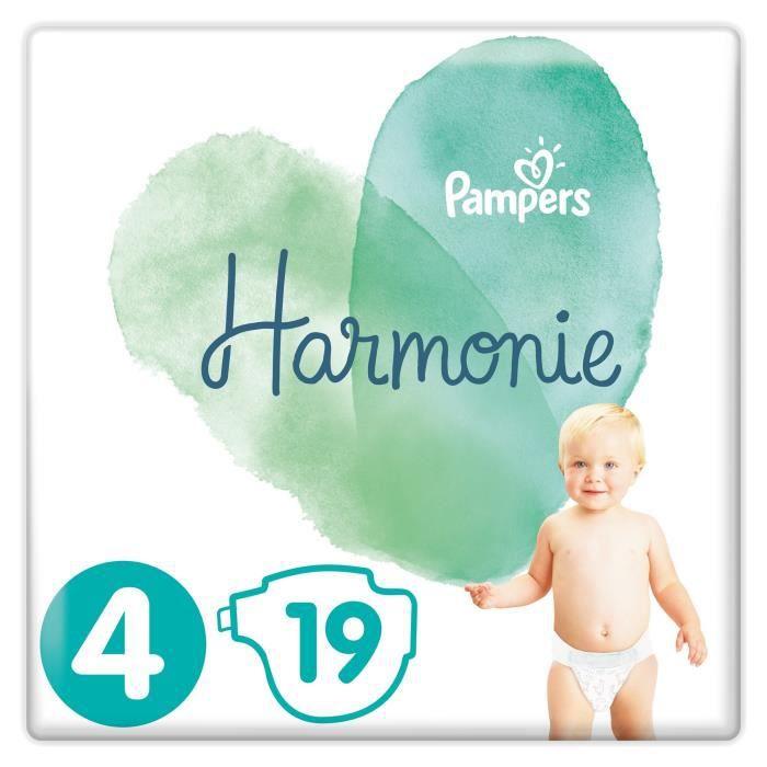 Lot de 4 paquets de 19 couches Pampers Harmonie - Taille 4
