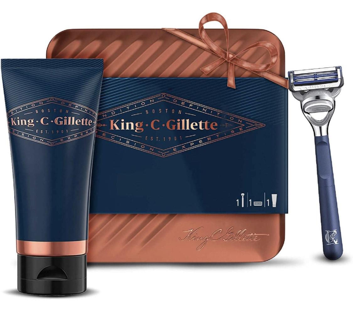 Kit de Rasage Homme Complet King C. Gillette - Rasoir + Gel + Boîte