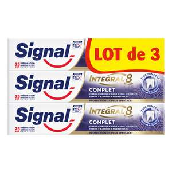 Lot de 3 dentifrices Signal Intégral 8, Différentes variétés (via 2.67€ sur la carte fidélité)