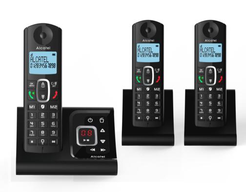 Kit 3 Téléphones fixes combinés Alcatel F685 Trio - Noir, avec répondeur (via ODR 15€)