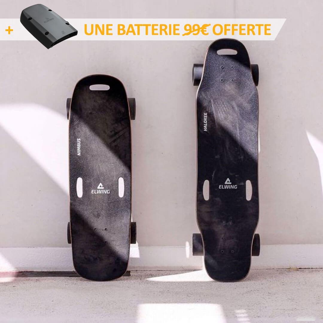 Skate électrique modulable Elwing Halokee (longboard) ou Nimbus (cruiser) Powerkit + 2ème batterie - ElwingBoards.com