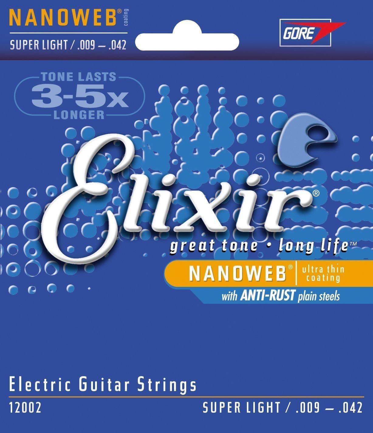 Sélection de cordes Elixir pour guitare électrique - Ex : Elixir Nanoweb Super Light 9-42