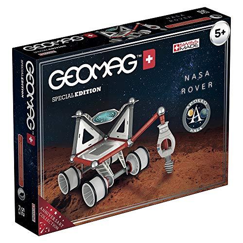 Geomag Special Edition Rocket NASA Lunar Rover Construction Magnétique, Blanc/Gris/Rouge/Bleu, 52 Pièces