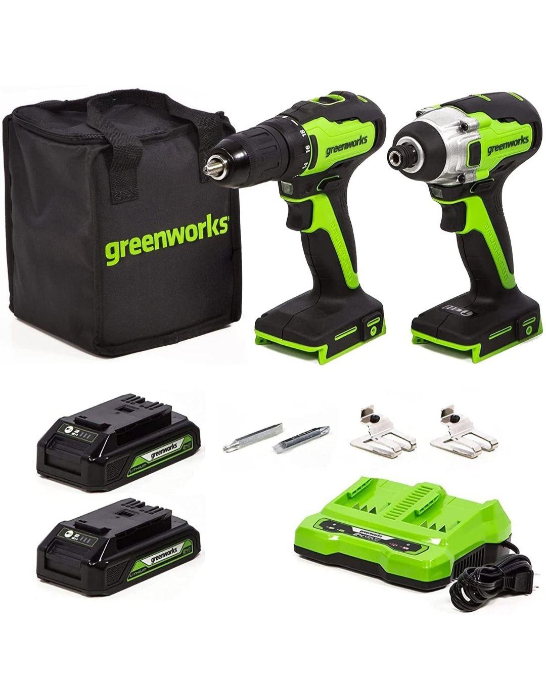 Ensemble perceuse visseuse + visseuse à choc Greenworks 24V brushless + 2 batteries 2Ah + chargeur double (Vendeur Tiers)