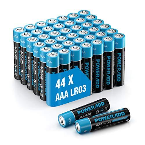 Lot de 44 Piles alcalines AAA LR03 PowerAdd (Via coupon - Vendeur tiers)