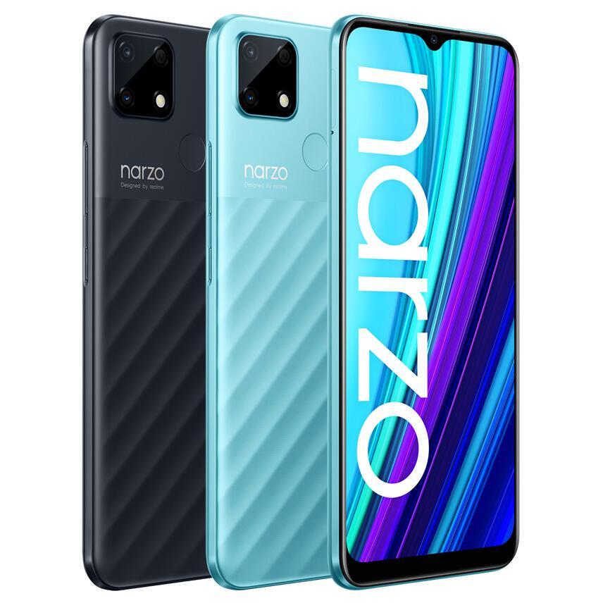 """Smartphone 6.5"""" Realme Narzo 30A - HD+, Helio G85, RAM 4 Go, 64 Go, 6000 mAh, Noir ou Bleu (Entrepôt France)"""