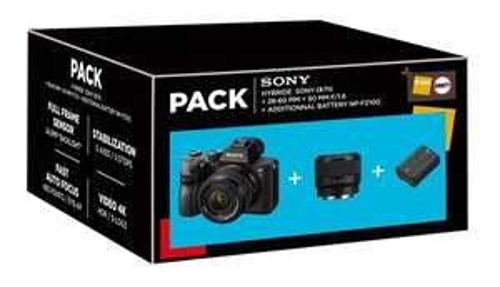 Pack Appareil Photo Hybride Sony Alpha 7III Noir + Objectifs FE 28-60mm f/4-5.6 & FE 50mm f/1,8 + Batterie additionnelle